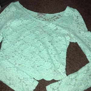 Lace mint green lace long sleeve